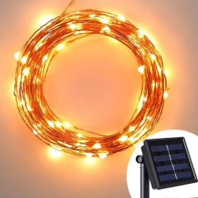 Solar Powered Copper Wire Lights - AVAWO® 33ft 100 LEDs Starry String Lights, Copper Wire Lights Ambiance Lighting for Outdoor, Gardens, Homes, Dancin